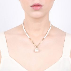 CONSTANCE FWP + heishi necklace