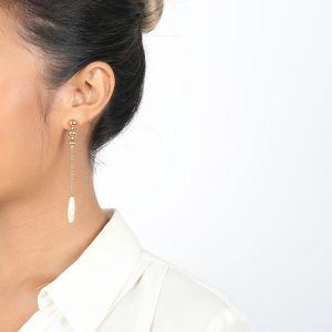 CLEMENCE boucles poussoir longues top 3 perles dorées