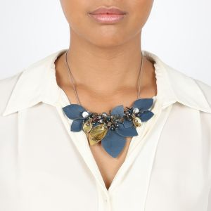 ALICE collier grand modèle en cuir & perles de culture