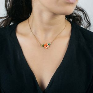 SONIA CAVALLINI enameled flower necklace