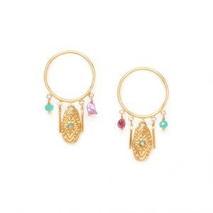 MARTA  boucles d'oreilles poussoir anneau et pampilles