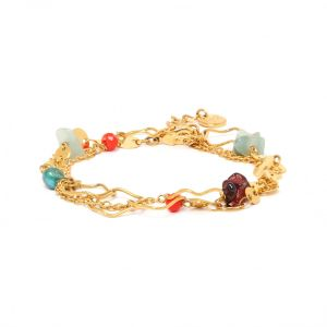 TIWA bracelet chaine 2 tours fermoir mousqueton