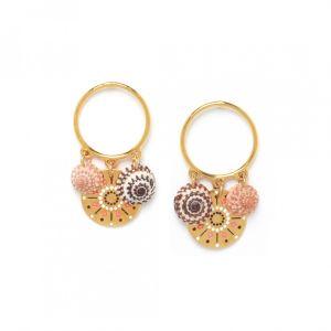 TAMARA boucles d'oreilles anneau & 3 pampilles