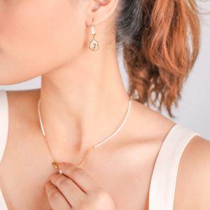 ABELHA  boucles d'oreilles crochet perlé et son médaillon