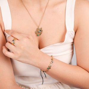 BECKY  bracelet coton ajustable Malachite