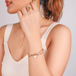 CELESTE  bracelet extensible métal doré à l'or fin