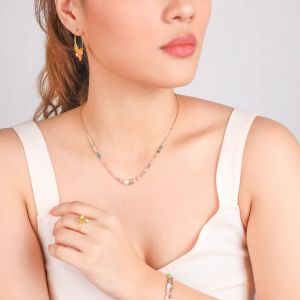 CAMILY thin necklace 5 fresh water pearl