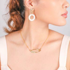 INES  boucles d'oreilles poussoir anneau Nacre