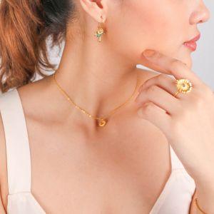 FELICIE  boucles d'oreilles crochet tournesol & goutte doré à l'or fin