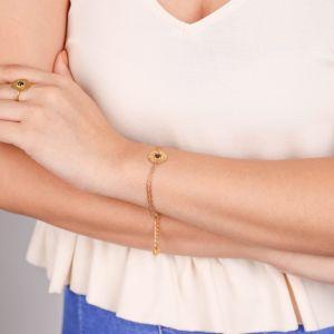 CORALIE  bracelet fin pastille dorée à l'or fin