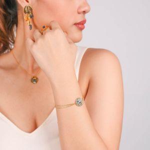 DANNA  bracelet double chaine dorée à l'or fin