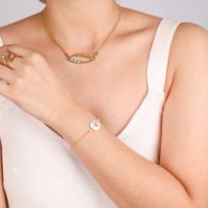 INES  bracelet chaine et anneau en Nacre blanche