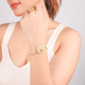 FELICIE articulated bracelet with rattan disc