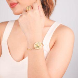 FELICIE bracelet semi rigide disque en rotin