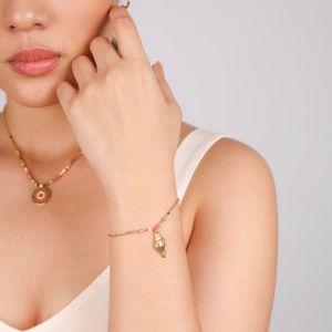 TAMARA  bracelet chaine pampille coquillage métal