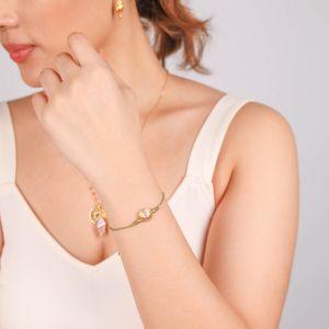TAMARA bracelet macramé coquillage spirale métal