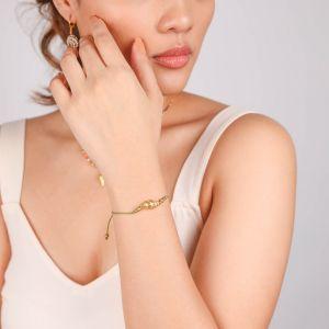 TAMARA  bracelet macramé coquillage cône doré à l'or fin