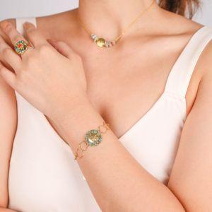 TIWA  bracelet chaine médaillon masque