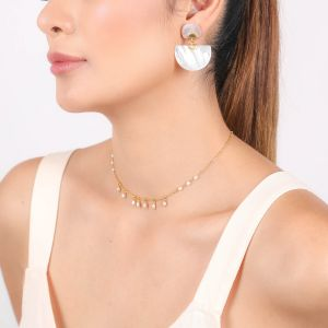 MARIA boucles d'oreilles clips nacre blanche