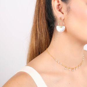 MARIA boucles d'oreilles poussoir anneau doré à l'or fin