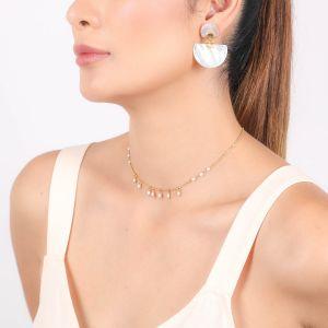 MARIA boucles d'oreilles poussoir 2 éléments nacre blanche