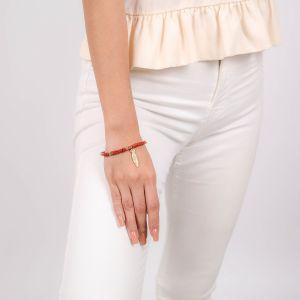 SORA  bracelet extensible cubes jaspe rouge