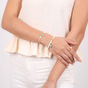 SORA  bracelet macramé disque doré à l'or fin