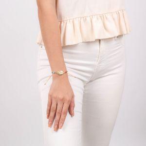 SORA  bracelet macramé plume dorée à l'or fin
