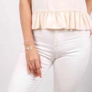 MARIA bracelet rigide nacre blanche