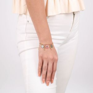 SCARLETT bracelet macramé multipampilles rose