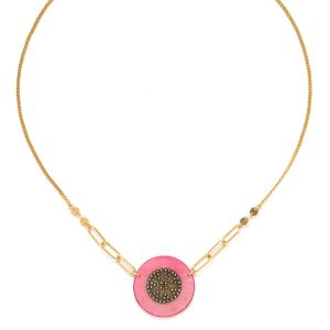 SCARLETT short disc necklace pink