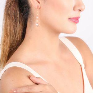 LES INSEPARABLES-ISA  boucles d'oreilles poussoir longues blanches