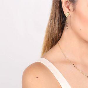 VANILLE boucles d'oreilles poussoir 2 rangs de perles