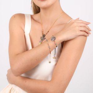 LENNIE  bracelet macramé Nacre noire