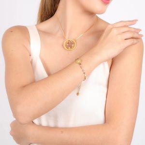 DREAMY bracelet fermoir mousqueton petites perles – rose