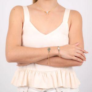 CALYPSO bracelet fermoir mousqueton Nacre émaillée