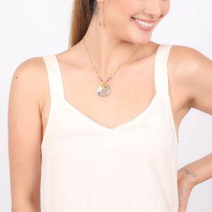 VALORINE round disc necklace