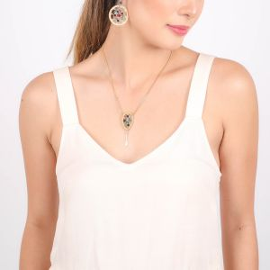 DREAMY inverted drop necklace (mix green)