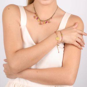 ALINA bracelet macramé médaillon doré à l'or fin