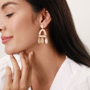 LES RADIEUSES-RAINBOW  pink PAUA drop post earrings