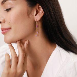 LES INSEPARABLES-SAMY  boucles d'oreilles crochet strassé – lilas