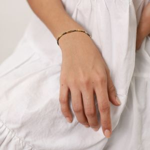 LES COMPLICES-HEMA  bracelet fermoir mousqueton teintes or et verts